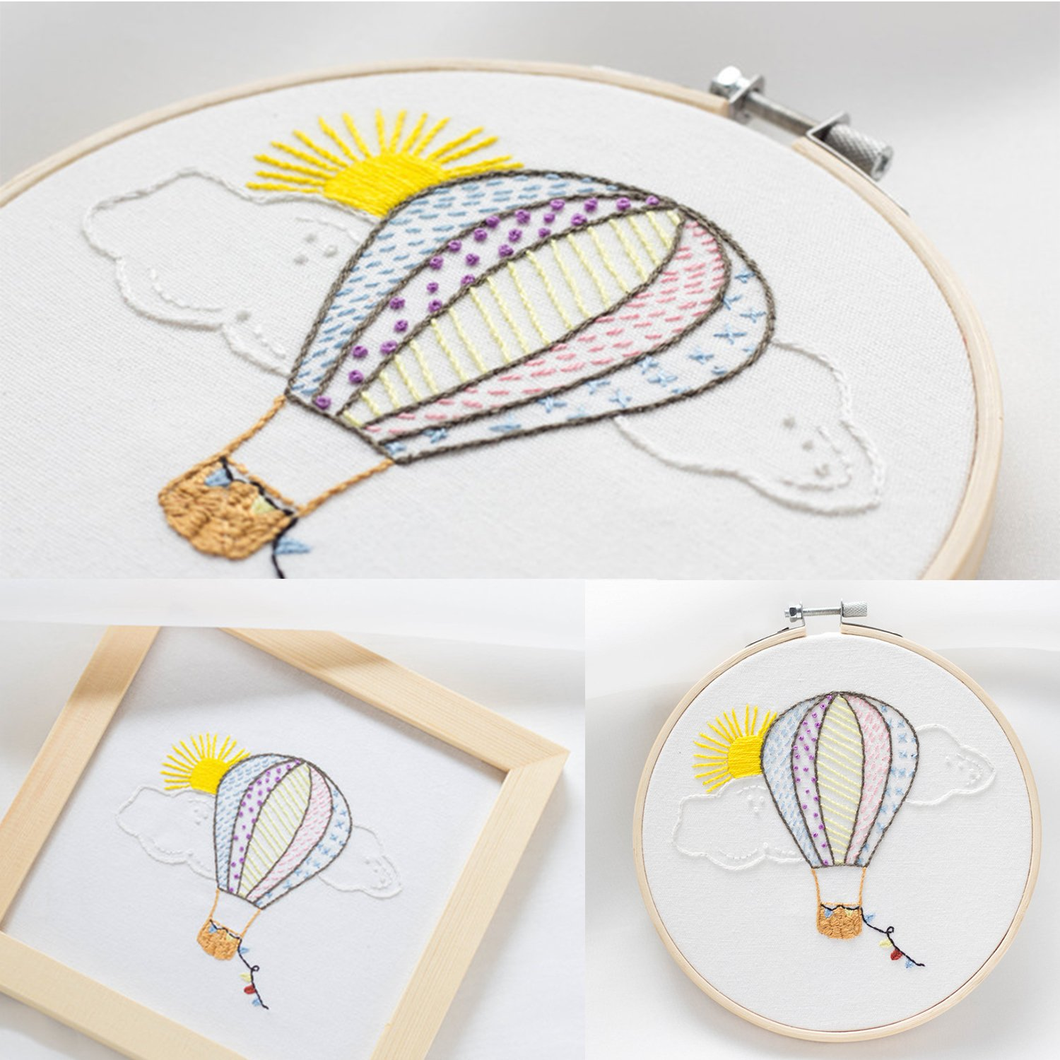Color Threads Unime Embroidery Starter Kit with Partten Full Range Embroidery Kit with Embroidery Cloth Embroidery Hoop Needles