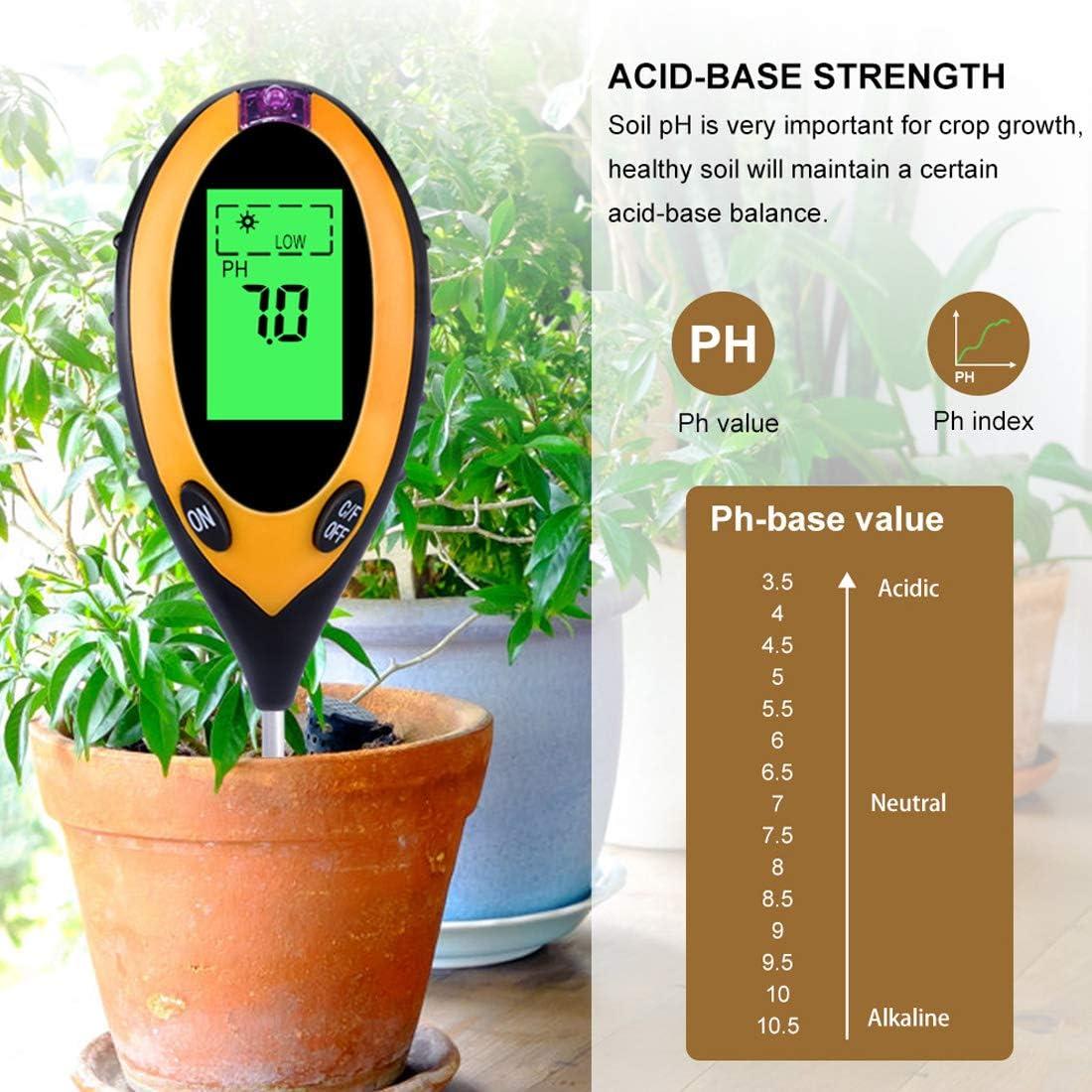 joyliveCY 4 in 1 Soil pH Instrument Moisture Meter Light and Moisture acidity Tester Soil Tester Kit Humidity Test Probe for Garden Farm Lawn Indoor Outdoor Plant Flower