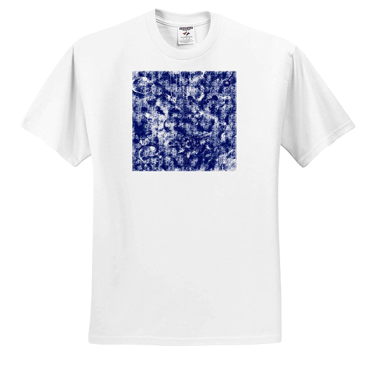 3dRose Digital Art by Brandi Untz Blue and White Abstract Painting Adult T-Shirt XL Blue White Abstract ts/_309435