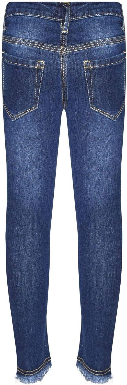 A2Z Girls Skinny Jeans Kids Dark Blue Denim Ripped Stretchy Pants Trousers Jeggings