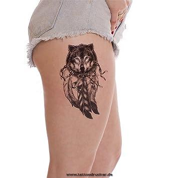 2 X Wolf Traumfanger Tattoo In Schwarz Dreamcatcher Indianischer