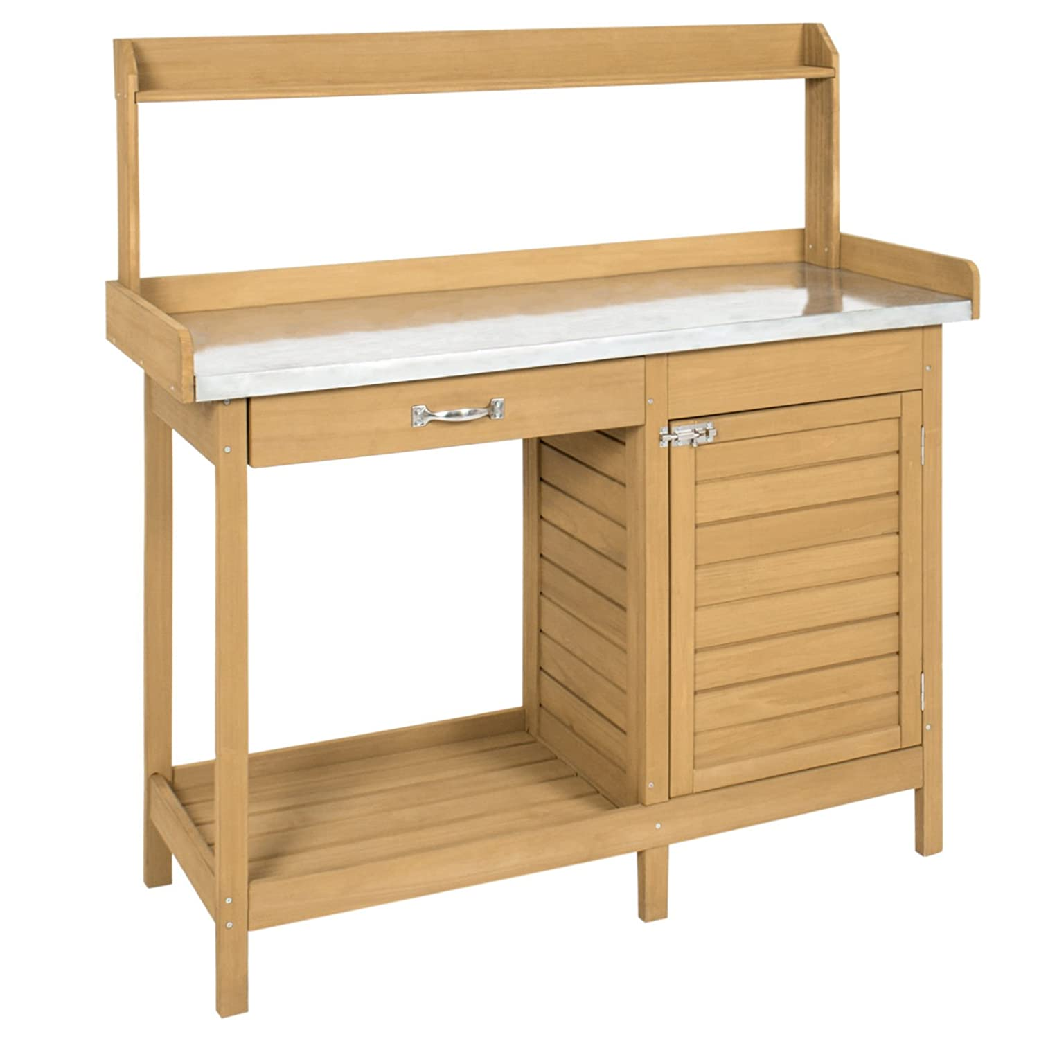 Natural Fir w//Cabinet Giantex Potting Bench Table for Outside Natural Wood Garden Plant Lawn Patio Table Storage Shelf Moisture Free Metal Tabletop Outdoor Workstation Flower Pot Bench