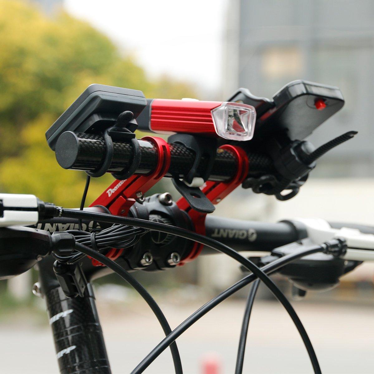 DEEMOUNT Bike Handlebar Extension Rack 202mm Bicycle Double Clamp Bracket Carbon Fiber Extender Accessories Flashlight Lamp Phone Mount Bracket Stand Holder Space Saver - Red by DEEMOUNT (Image #3)