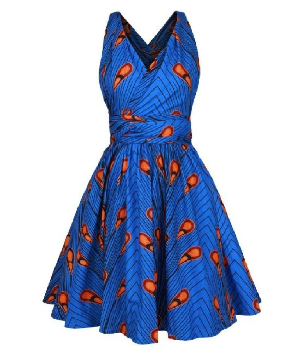 Abetteric Women's Straps Shirring African V Neck Bohemian Sleeveless Printed Nightclub Short Dress As Picture XSmall by Abetteric (Image #1)