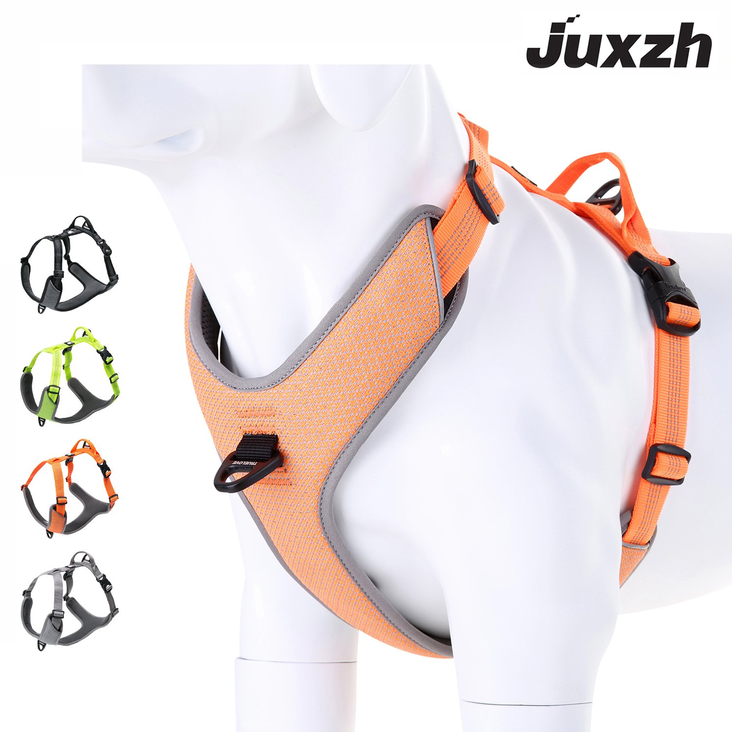 juxzh Best New 2018 Dog Harness Reflective Lightweight No-Pull Adjustable Nylon Pet Training Harness with Soft Padded Pet Vest For Outdoor Small Medium Large Dog