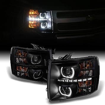 2007-2013 CHEVY SILVERADO//2014 2500//3500 HD TRUCK BLACK LED DRL HEAD LIGHTS LAMP