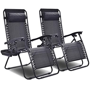 Giantex 2 PCS Zero Gravity Chair Patio Chaise Lounge Chairs Outdoor Yard Pool Recliner Folding Lounge Chair with Cup Holder (Black)