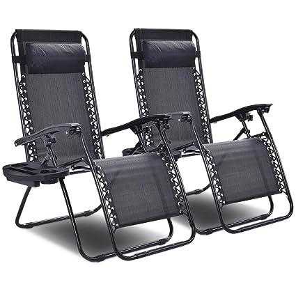 Giantex 2 PCS Zero Gravity Chair Patio Chaise Lounge Chairs Outdoor Yard  Pool Recliner Folding Lounge