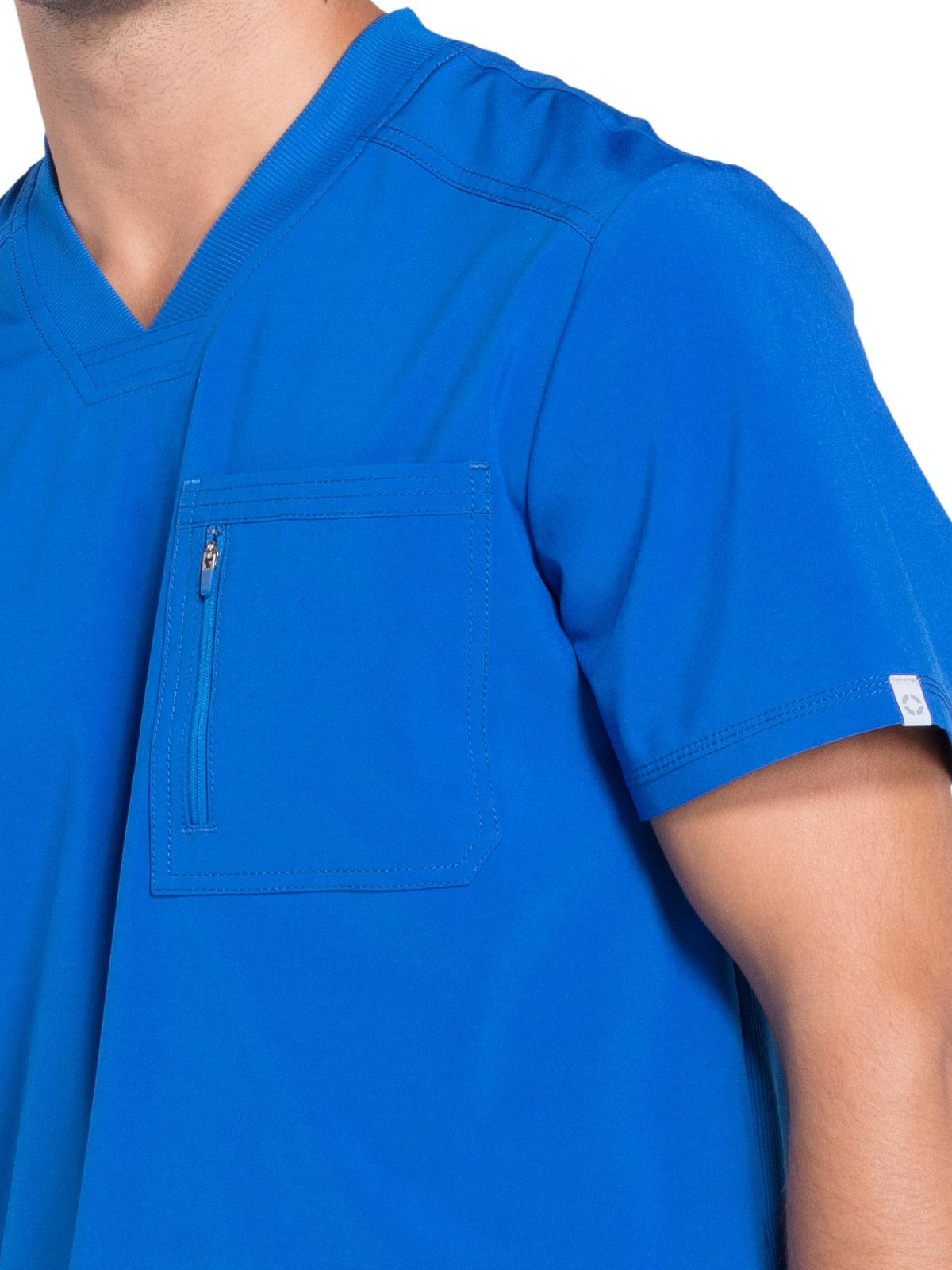 Cherokee Infinity Men's V-Neck Knit Panel Solid Scrub Top X-Large Royal by Cherokee (Image #3)