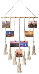 Mkono Hanging Photo Display Macrame Wall Hanging Pictures Organizer Home Decor, with 25 Wood Clips, Best