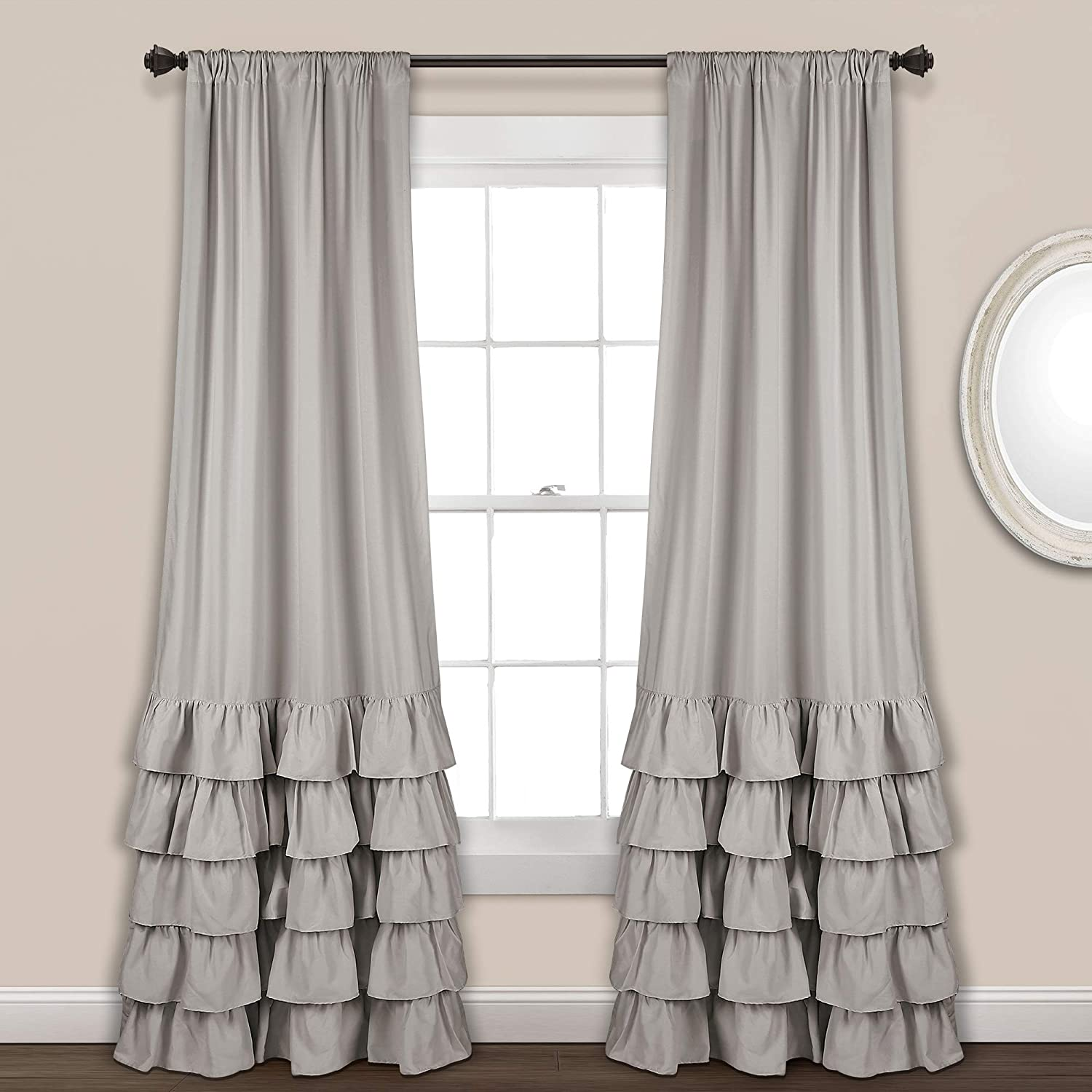 "Lush Decor Allison Ruffle Curtains Window Panel Drapes Set for Living, Dining Room, Bedroom (Pair), 84"" x 40"", Light Gray"