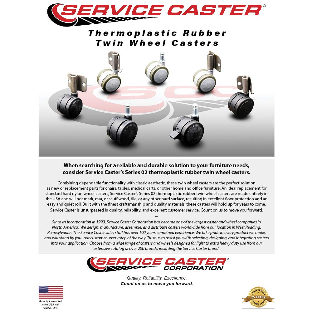 Inside Corner Mounting Casters Set of 4 Service Caster Hardwood Safe Non Marking 4 Black Twin Wheels