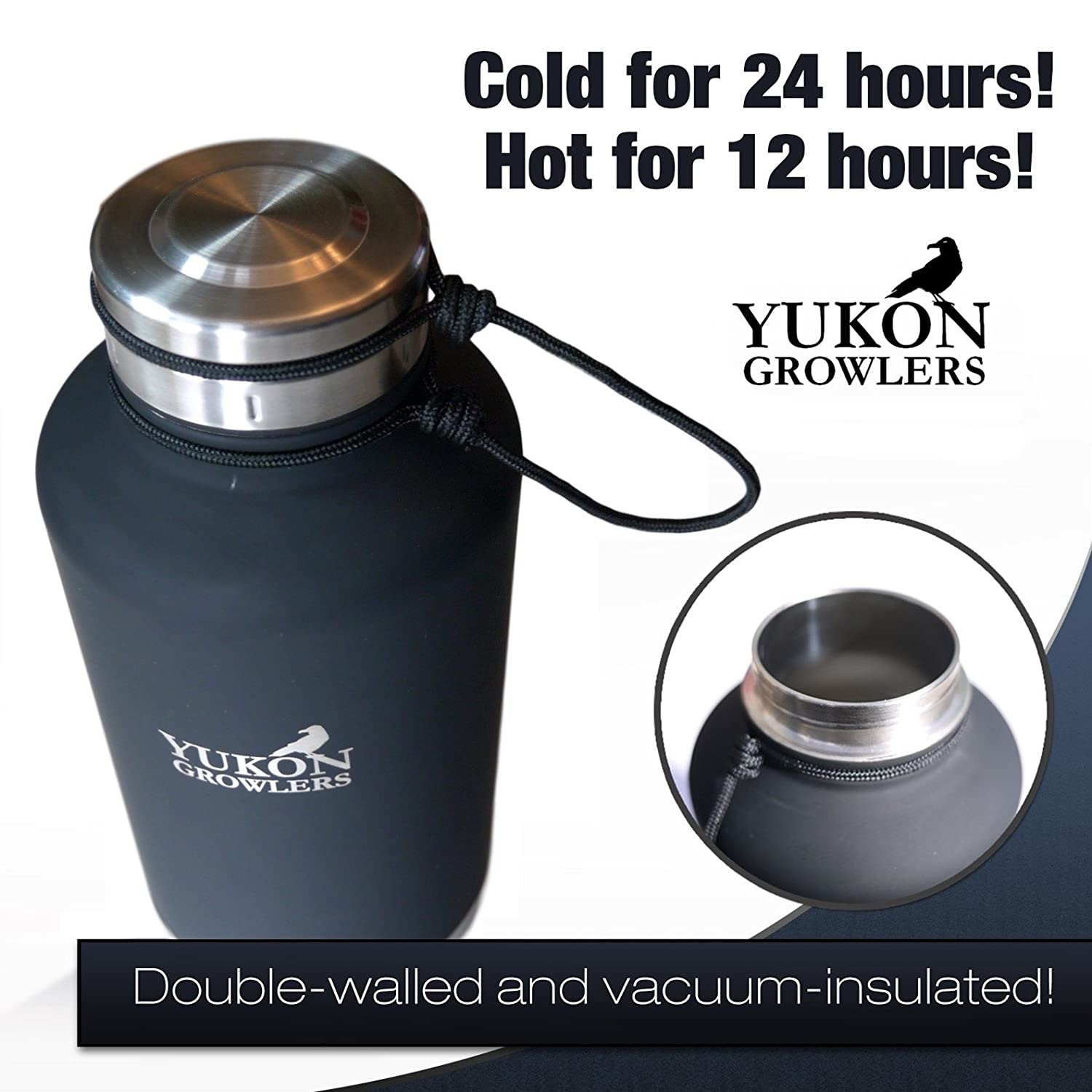 Yukon Growlers Insulated Beer Growler 64 oz Atlin Imports Ltd. Improved Lid Keep Your Beer Cold and Carbonated for 24 Hours in This Stainless Steel Vacuum Water Bottle Also Keeps Coffee Hot
