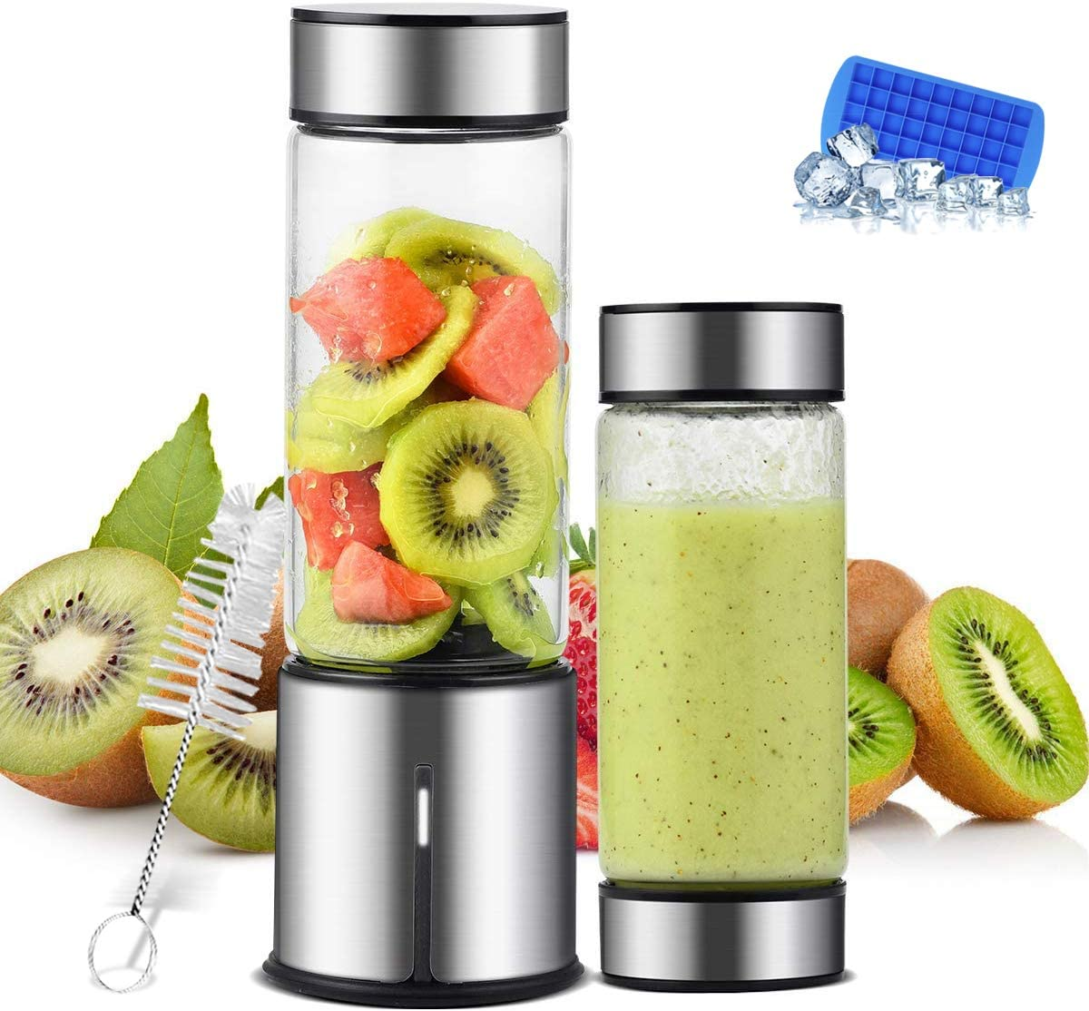 TTLIFE 2 Cup Cover Portable Blender,USB Rechargeable Cordless Smoothie Glass Blender,Mini Jucier Cup Travel Sports Bottle
