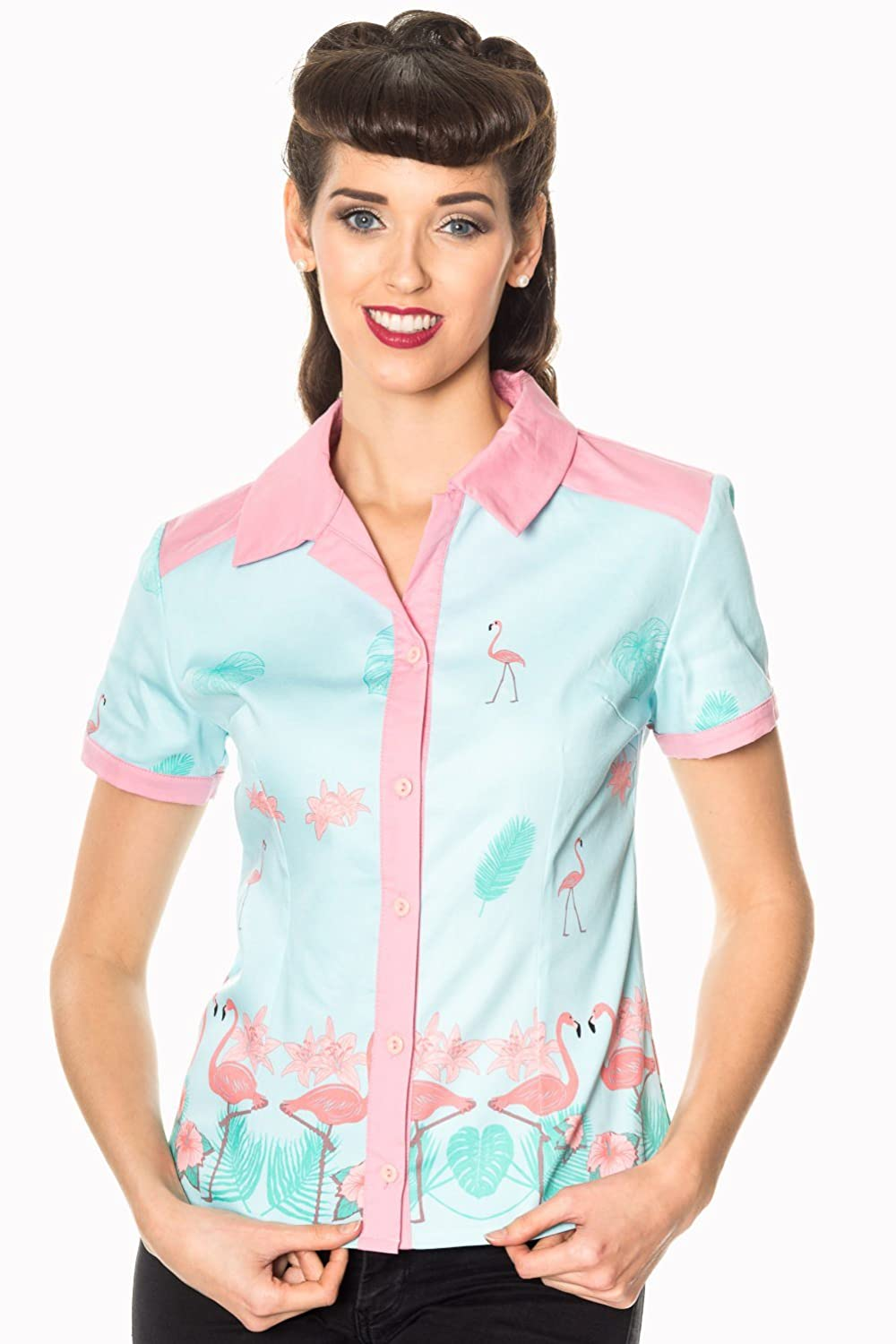 1950s Rockabilly & Pinup Tops, Shirts, Blouses Banned Going My Way Vintage Retro Shirt Blouse £27.99 AT vintagedancer.com