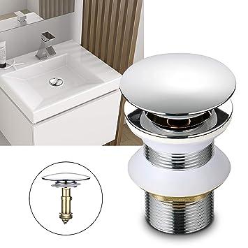 Push UP Ablaufventil Ablaufgarnitur Ohne Überlauf Waschbecken Siphon Sifon