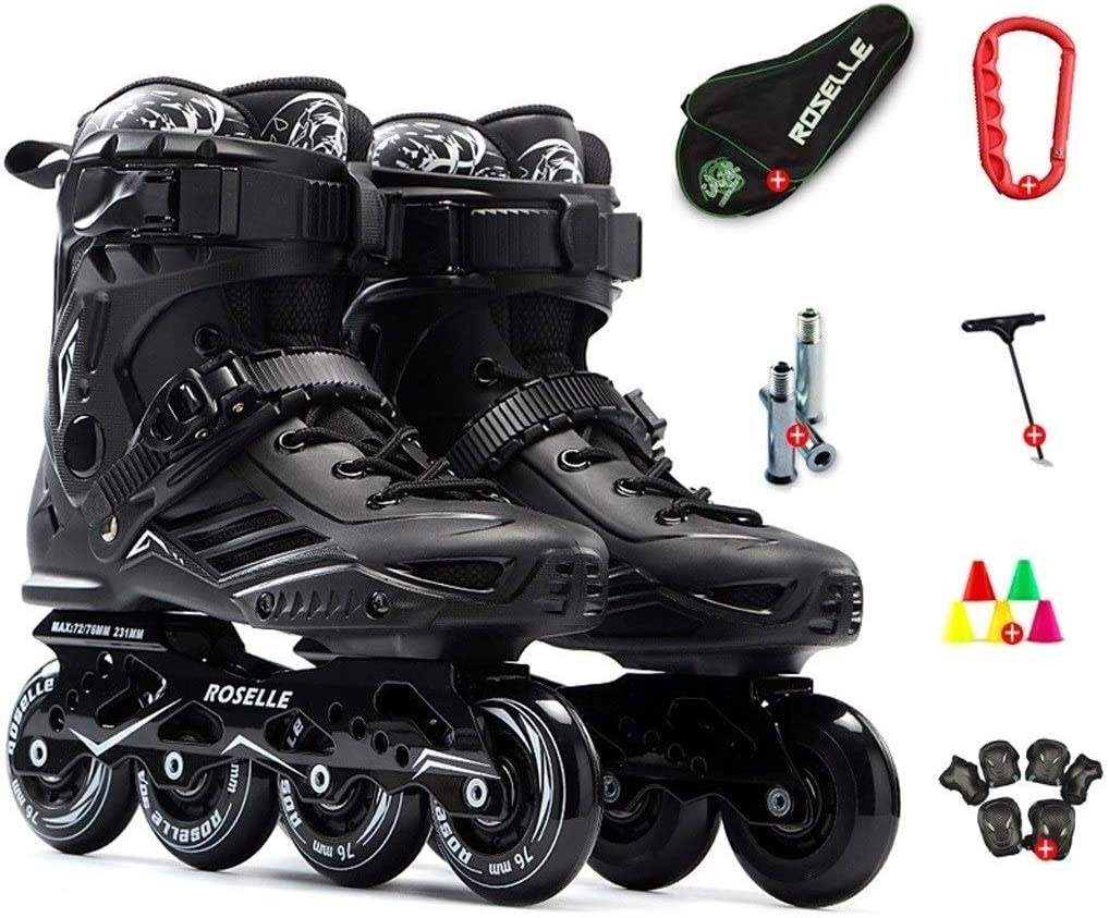 スケート大人の大学のローラースケート、初心者空想プロローラースケート (Color : 黒, Size : EU40) 黒 EU40