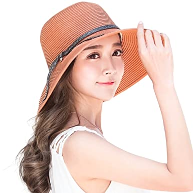 8b1d752e24b Image Unavailable. Image not available for. Colour  Siggi Ladies Summer  Straw Panama Beach Fedora Floppy Sun Hat Wide Brim Bowknot for Women Orange