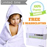 """Organic Bamboo Baby Hooded Bath Towel & 2 Washcloths -Large (34""""X34"""") - 100% Bamboo, Hypoallergenic , Extra Soft , Keeps Baby Dry and Warm- Boy & Girl, Infant and Toddler Baby Gift"""