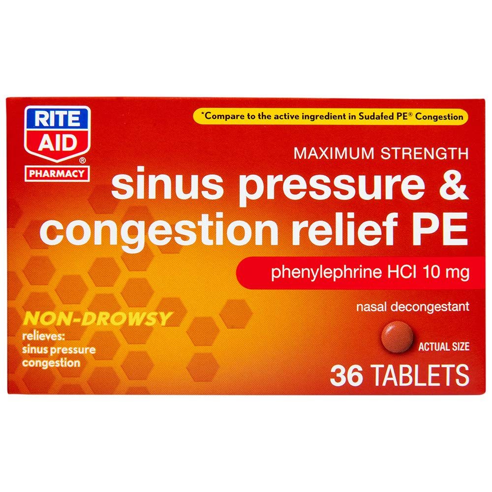 Rite Aid Sinus Pressure and Congestion Non-Drowsy Relief PE, 10mg - 36 Tablets | Sinus Relief