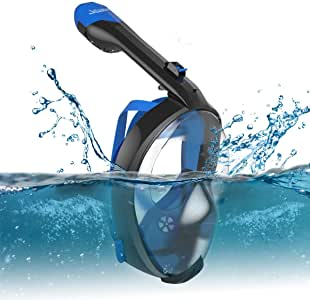 Full Face Snorkel Mask Seabeast AF90, Real Anti-Fog Snorkel Mask with 180° Panoramic View and Removable GoPro Mount (Black and Blue)