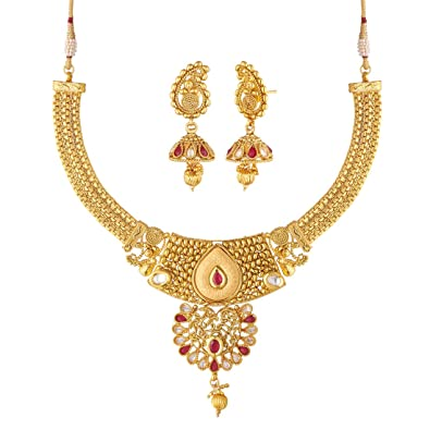 0fa6707d975f1 Apara Copper American Diamond Ruby Necklace Set with Mango Design Earings  for Women/Girls