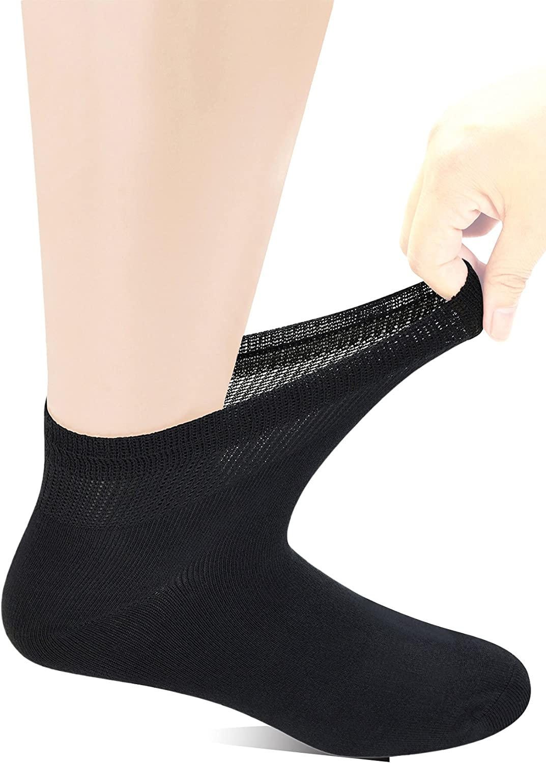 Yomandamor Men's Bamboo Diabetic Ankle Socks with Seamless Toe and Non-Binding Top,6 Pairs L Size(10-13) …
