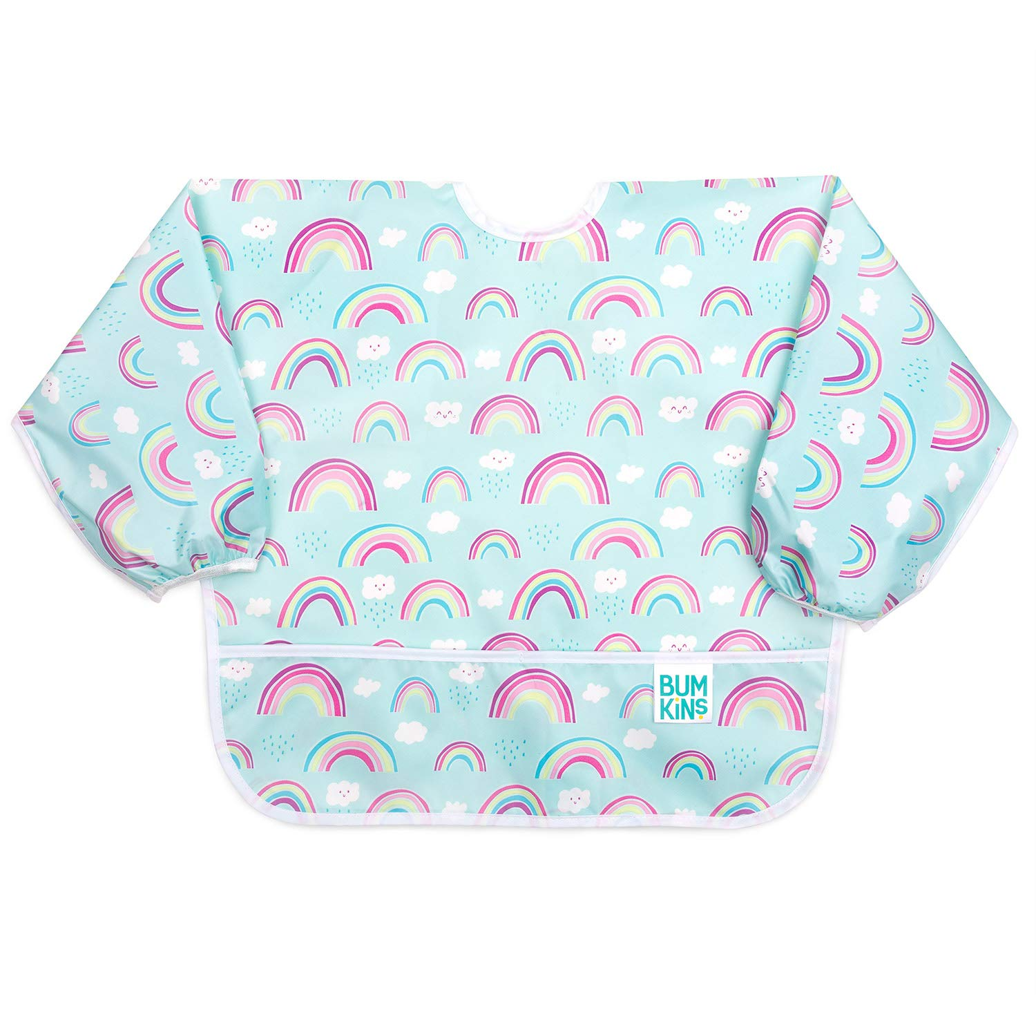 Bumkins Sleeved Bib/Baby Bib/Toddler Bib/Smock, Waterproof, Washable, Stain and Odor Resistant, 6-24 Months - Rainbows