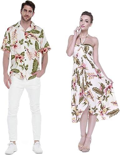 Pareja Juego Hawaiano Luau Fiesta Traje Conjunto Camisa Vestido en Crema Rafelsia
