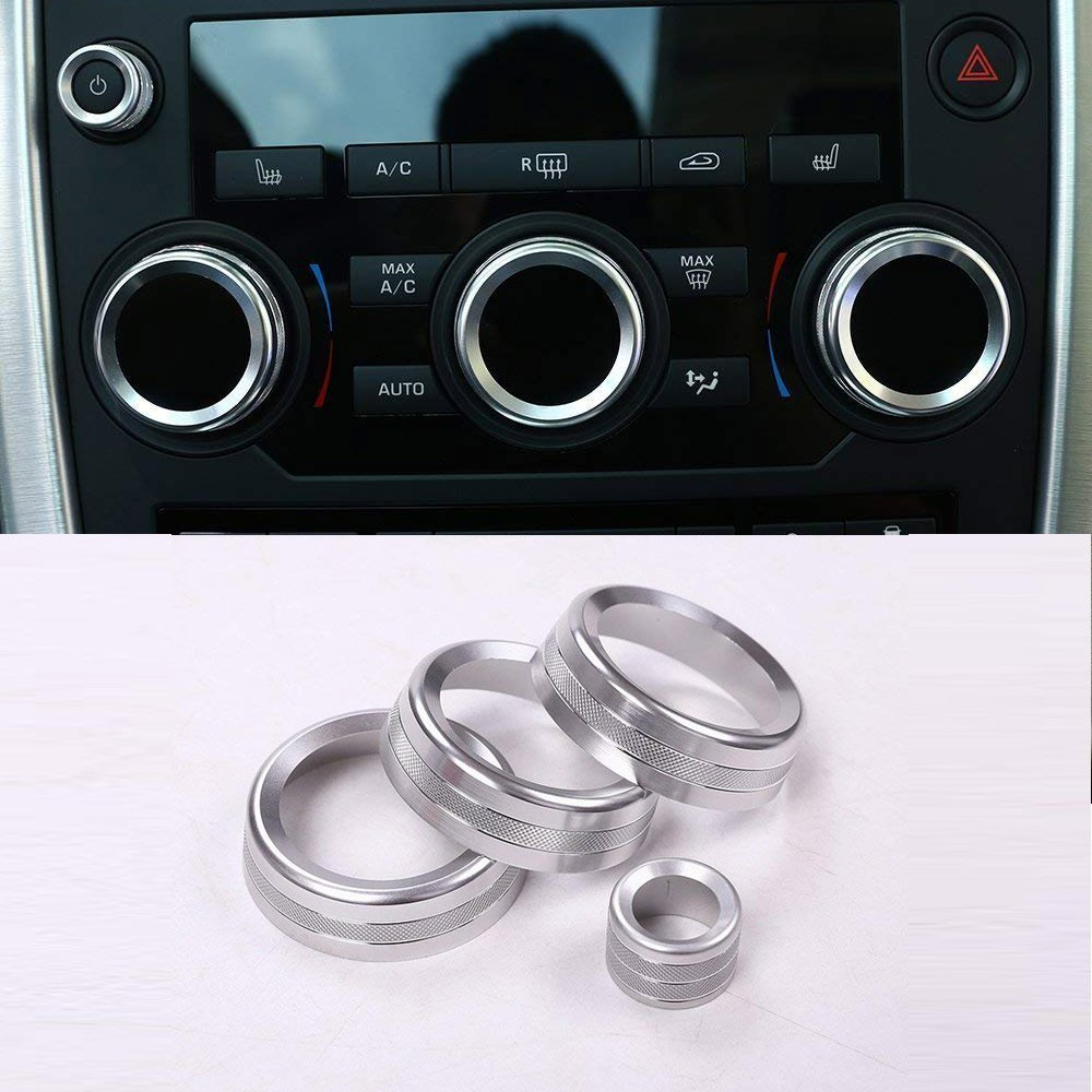 For Discovery Sport 2015 2016 2017 Car Accessories Aluminum Volume and Air Conditioning Knobs Trim 4pcs Silver