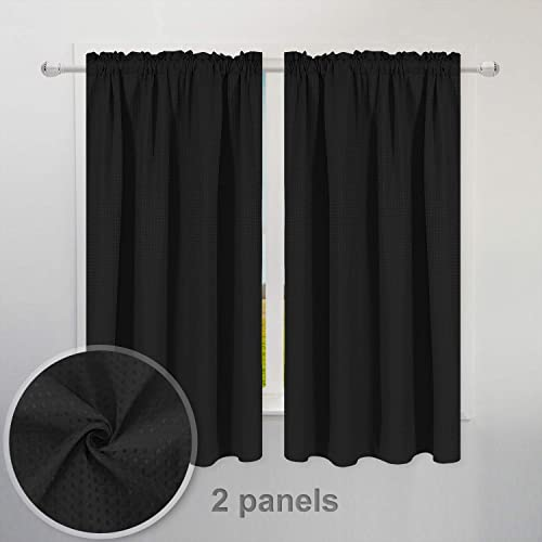 Waffle Weave Half Window Tier Curtains 63 Inch Length for Small Window in Kitchen Bathroom, Waterproof and Washable – Black, 36 x 63 for Each Panel, Set of 2
