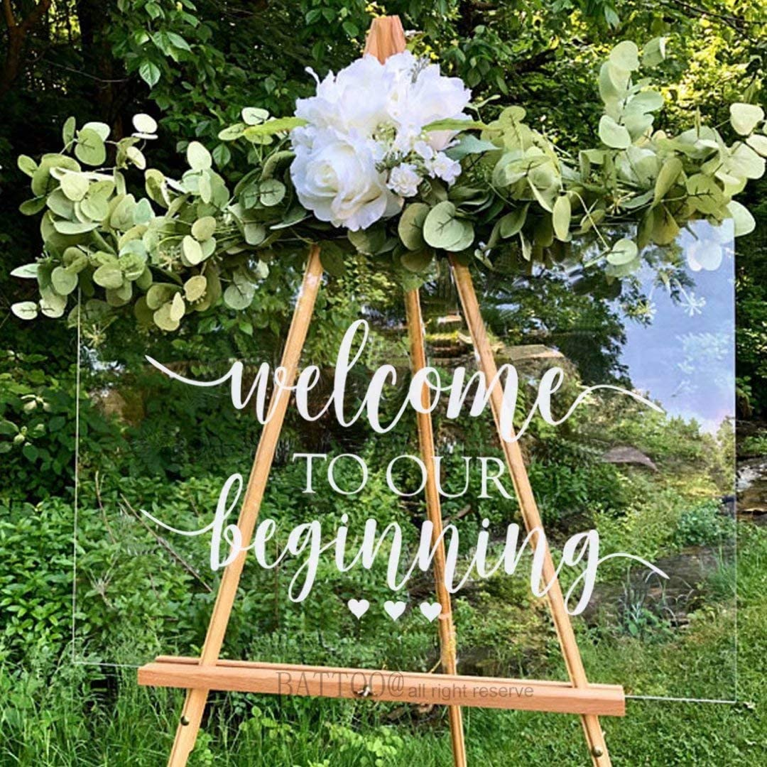 "BATTOO Wedding Welcome Sign Decal Welcome to Our Beginning Couples Wedding Reception Home Adhesive Sticker - Marriage Wedlock of Love Wedding Ceremony Decal 20"" Wide by 11"" Tall, White"