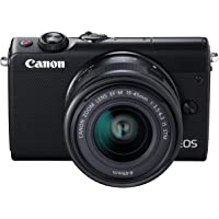 Canon EOS M100 BK M15-45 S - Cámara con sensor APS-C de 24.2 MP (DIGIC 7, Dual Pixel CMOS AF, pantalla táctil LCD de 8 cm, Full HD a 60P) negro - Kit Cuerpo con Objetivo EF-M 15-45 mm