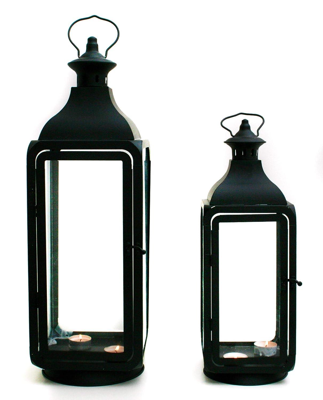 Lot de 2Hauteur lanternes en métal et verre Noir Link Products