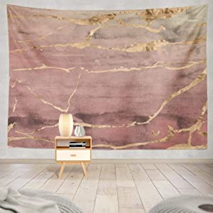 Marbles Tapestry,Geericy Wall Hanging Tapestry Rose Gold Metallic Marble Watercolor Ombre Quartz Pink Wall Tapestry Dorm Home Decor Bedroom Living Room in 80X60,Rose Gold Pink