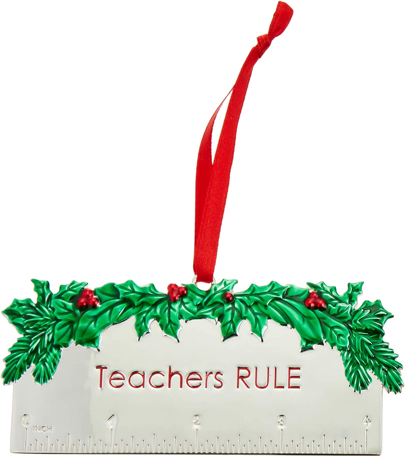 Lenox 878982 Teachers Rule Metal Ornament