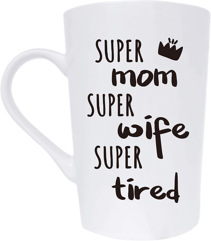 Regalo divertido para el día de la madre, para mamá, esposa, regalos de Navidad, Super mamá, super esposa, regalo muy cansado, de la hija hijo o marido, taza de diversión blanca, 12 oz