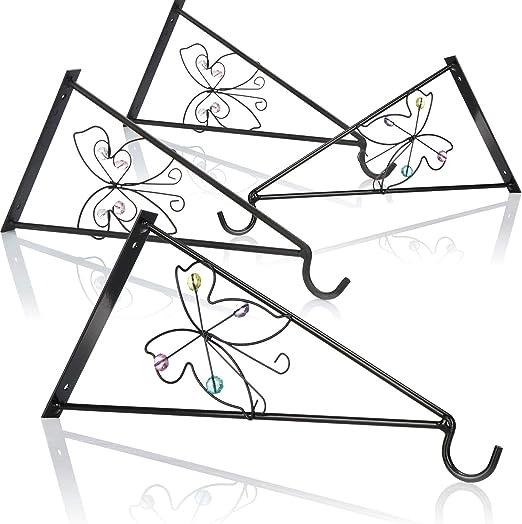 com-four® Soporte de Pared 4X Mariposa de Acero con Recubrimiento en Polvo para cestas Colgantes y Campanas de Viento, con Tornillos y Tacos (Soporte de Pared 4 Piezas - Mariposa): Amazon.es: Jardín