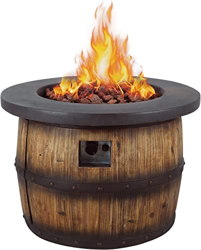 AMKV Propane Fire Pit Table,Wine Barrel Shape and Natural Wood Texture Fire Pit Table 50,000 BTU with Lava Rock for Garden,Terrace,Outdoor