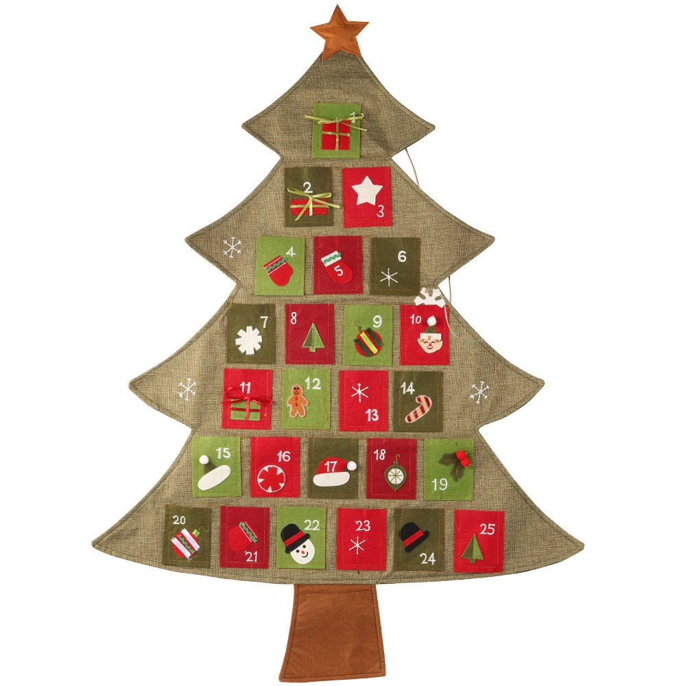 D-FantiX Fabric Christmas Tree Advent Calendar 2018 Countdown to Christmas Calendar Ornament Reusable Indoor Hanging Decorations AM-HG192