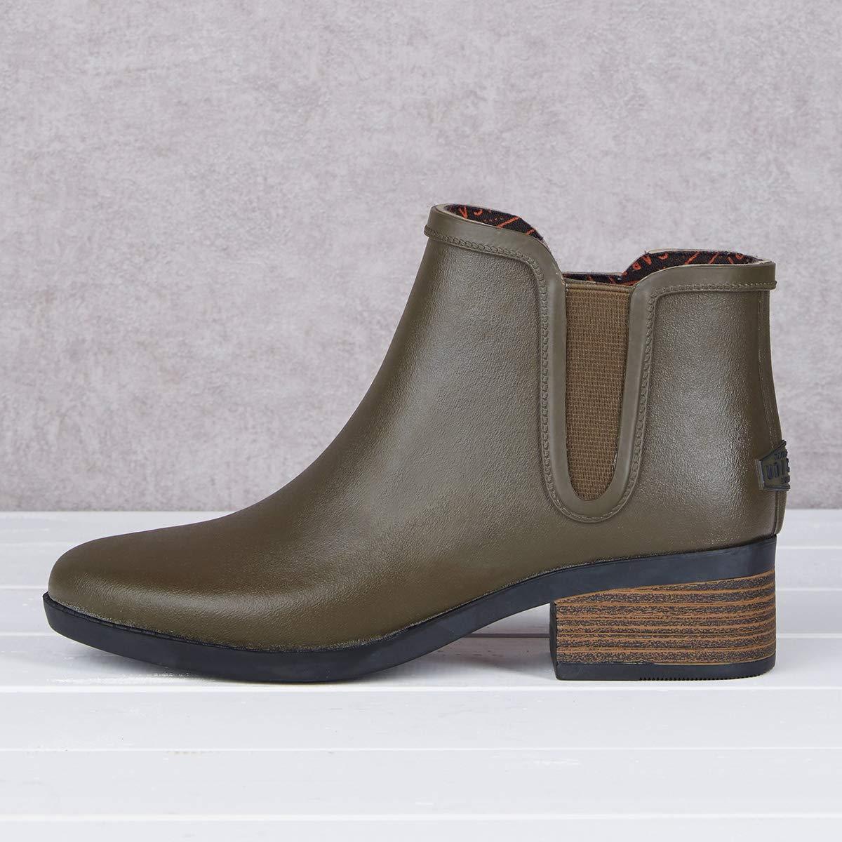 UNICARE Womens Chelsea Rain Boots Waterproof Slip on Shoes Nonslip Short Ankel Boots Rubber Rain Footwear Handmade