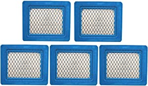 5 Pack 491588S Flat Air Filter Cartridge for Briggs & Stratton 491588 399959 4942245 4915885 3.5-6.5 HP Quantum Engines Push Mower Lawn Mower Air Filter