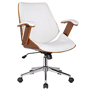 Porthos Home Noah Adjustable Chair with 360̊ Swivel, Steel Base with Caster Wheels, Armrests and Bi-cast Leather Upholstery (Suitable for Home and Office Use), One Size, White
