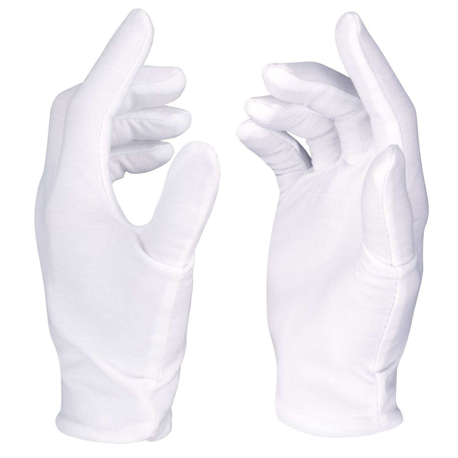 Neewer 12 Pairs (24 Gloves) 100% Cotton Lisle White Inspection Work Gloves for Coin, Jewelry, Silver, or Photo Inspection