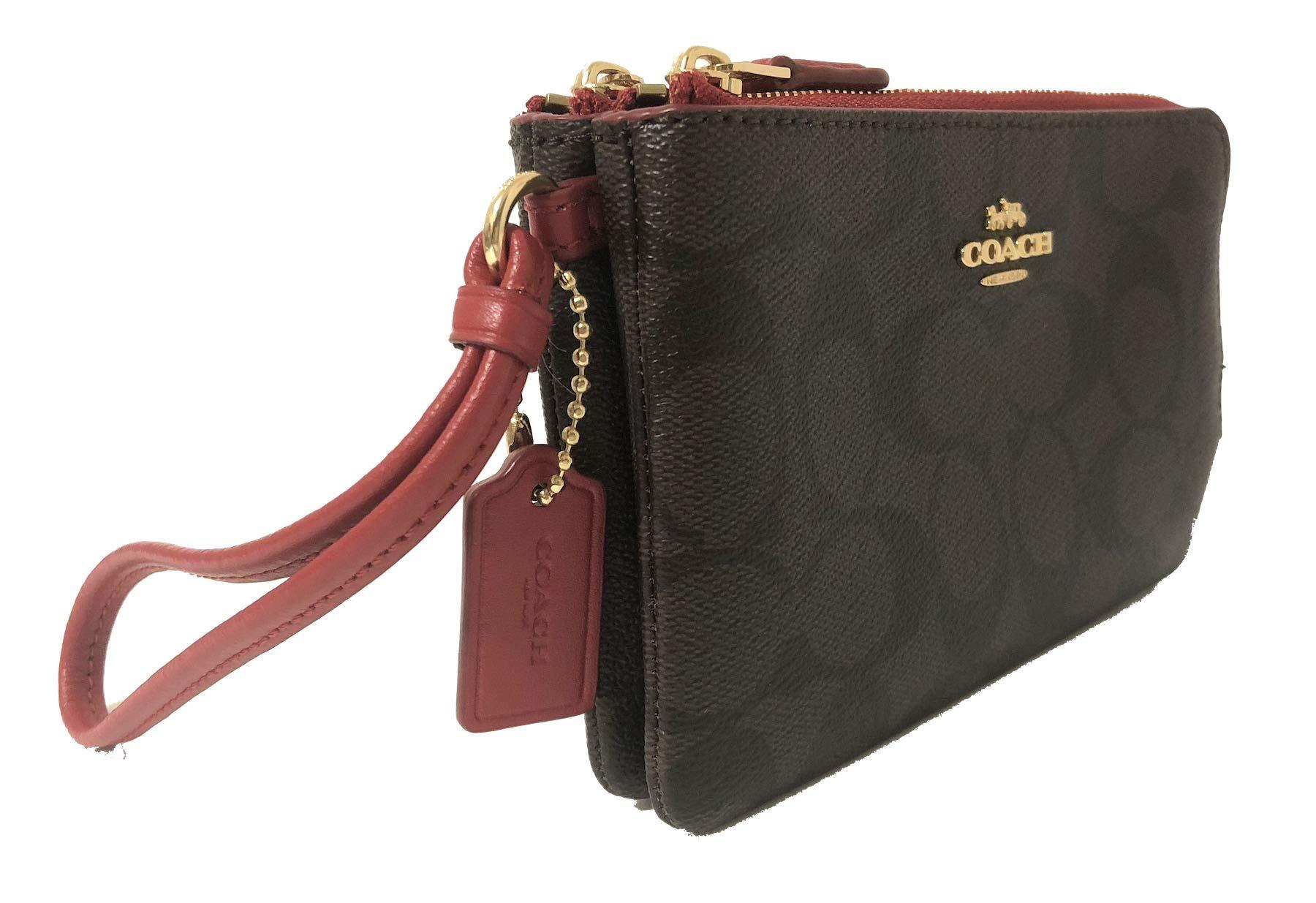 Coach Signature PVC Double Corner Zip Wristlet Wallet
