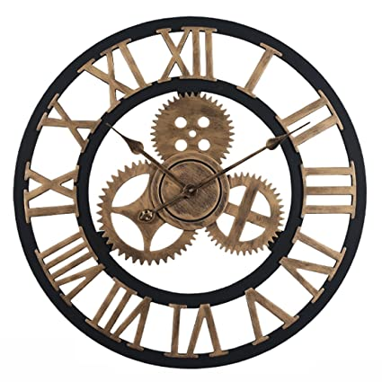 RuiyiF 24 Inch Wall Clocks Rustic Wood Decorative Living Room Quiet no Ticking Noise AA Battery