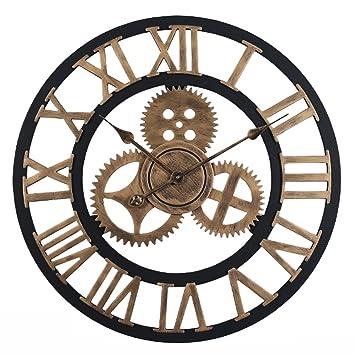 YAHAMA Reloj Pared Grande XXL Vintage Reloj Pared 60 cm Vintage Reloj Pared Grande Retro Romano, Dorado: Amazon.es: Hogar
