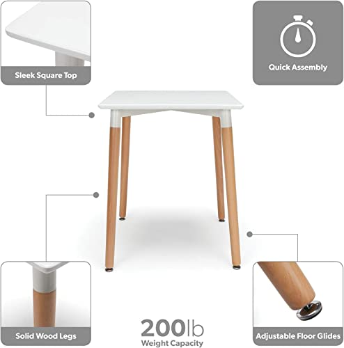 OFM 161 Collection Mid Century Modern 24 Square Dining Table, Solid Wood Legs, in White