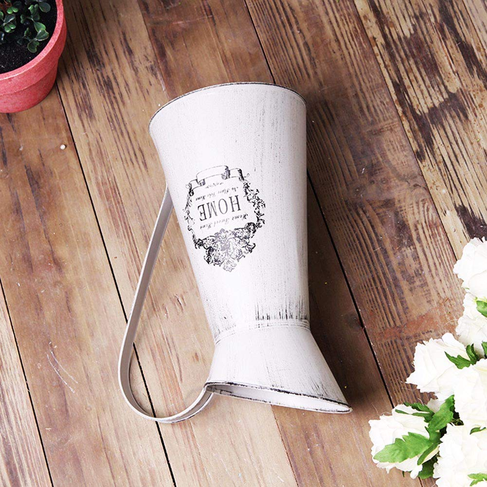 Yoillione Shabby Chic Vase Metal Flower Vase,White Pitcher Vase Vintage Jug for Flowers,Country Vase Rustic Jug Vases Cream,28CM