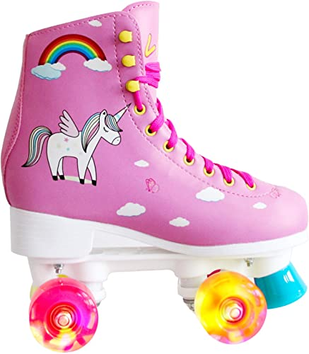 LIKU Quad Roller Skates for Girl and Women with All Wheel Light Up,Indoor Outdoor Lace-Up Fun Illuminating Roller Skate for Kid